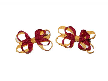Bow Clips - Maroon/Gold